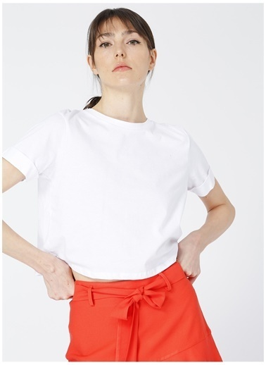 Limon Company Limon Vostok Beyaz Bisiklet Yaka Kadın T-Shirt Beyaz